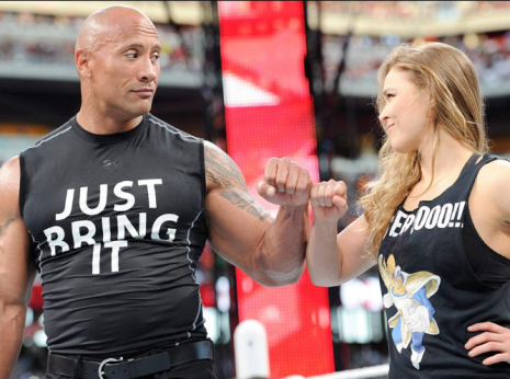 Ronda Rousey and The Rock team up at WrestleMania 31