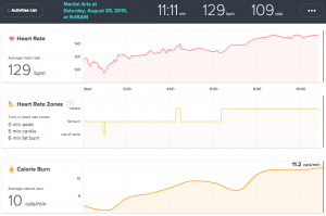 Adam's Fitbit Charge HR data shows higher beats per minute than DDPYoga